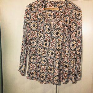 LOFT NWOT XL paisley cotton blouse pink